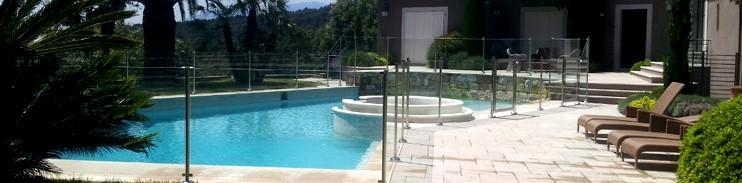 Cloture de piscine oc anix en verre et inox l316 la for Barriere de securite piscine en verre