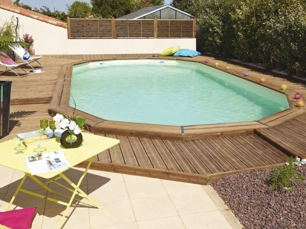 Piscine bois enterr e ma va 6 x 3m avec escalier sous liner for Liner pour piscine enterree rectangulaire