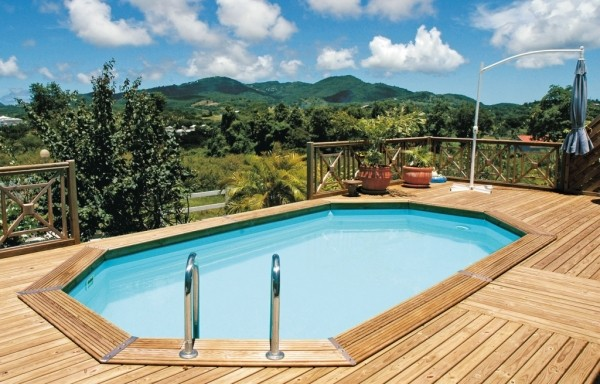 Piscine bois enterr e maeva 600 for Dimension piscine semi enterree
