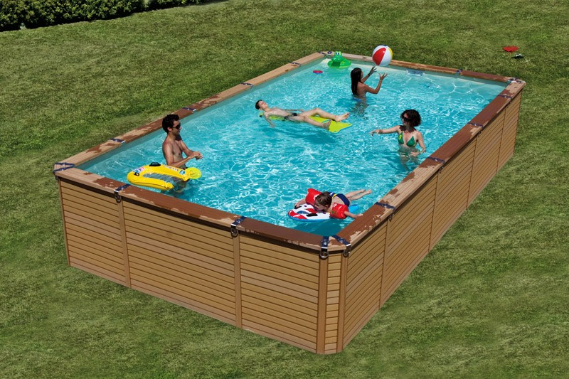 Zodiac azteck hors sol rectangle for Piscine imitation bois