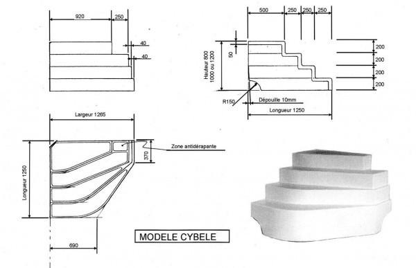 escalier piscine d 39 angle cyb le hauteur 100cm. Black Bedroom Furniture Sets. Home Design Ideas