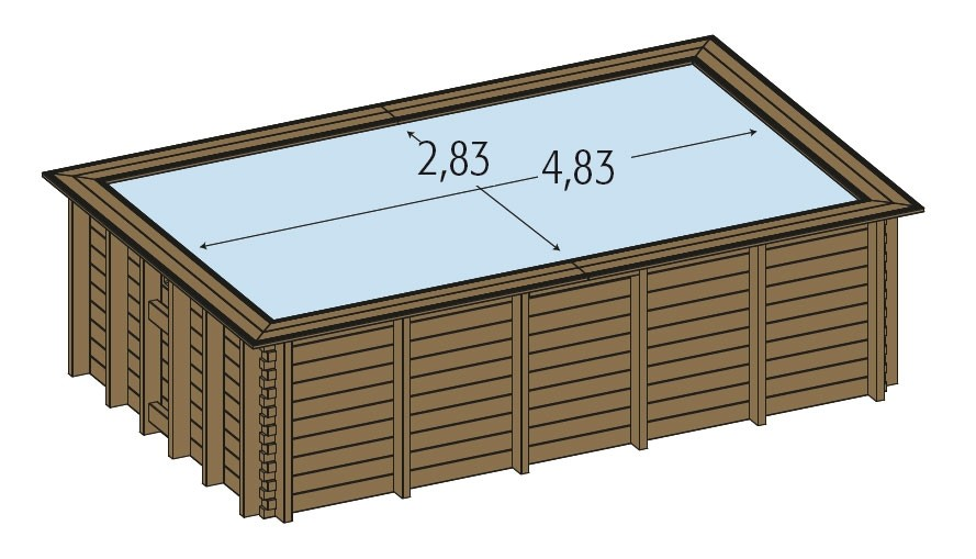Piscine bois enterr e maeva 5x3m for Piscine bois rectangulaire semi enterree