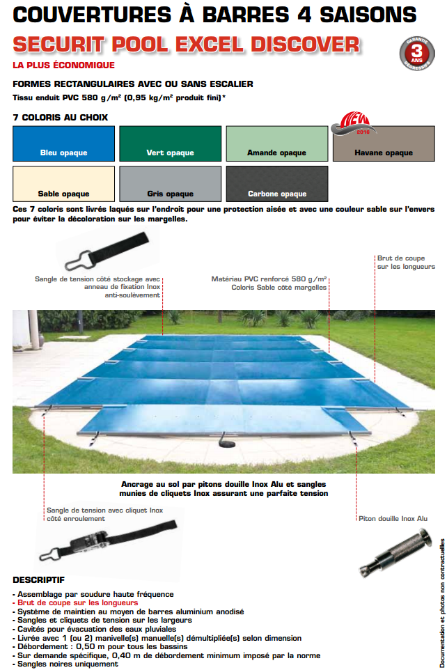 Couverture barres securit pool excel discover sur mesure for Devis liner piscine sur mesure
