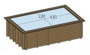 Piscine bois enterrée Maeva 5x3m avec escalier sous liner
