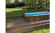Piscine bois hors-sol Maeva 5x3m avec escalier sous liner