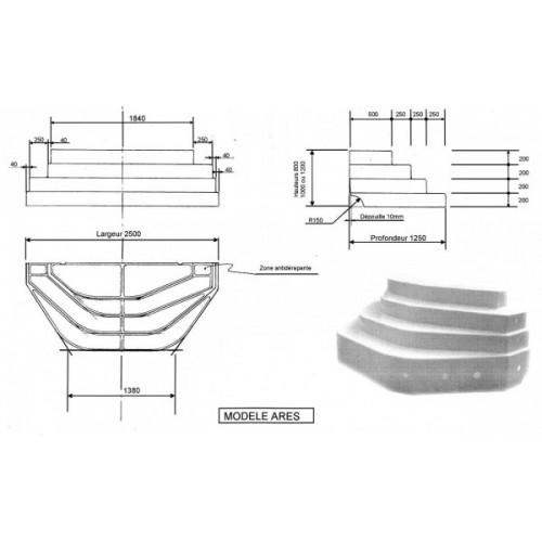 Escalier de piscine ares hauteur 80cm - Escalier 80 cm largeur ...