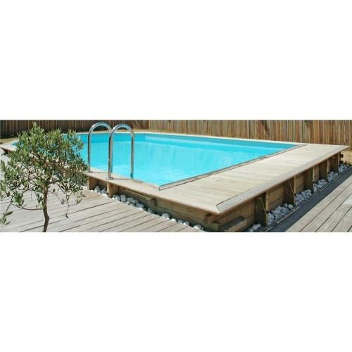 Piscine bois hors sol maeva 8x4m escalier d 39 angle for Piscine d angle hors sol