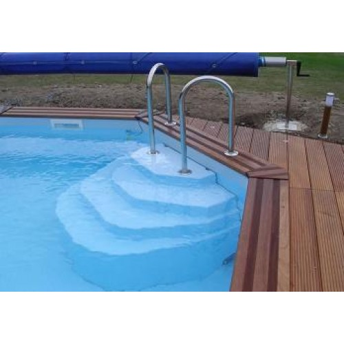 Zodiac azteck semi enterrer ronde for Piscine bois a enterrer