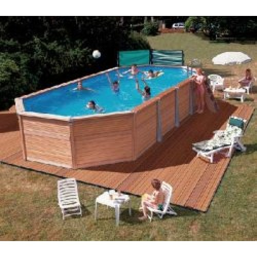 Zodiac azteck semi enterrer ovale for Piscine en bois a enterrer