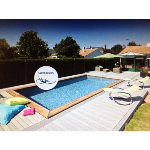 Piscine bois enterr e maeva 8x4m escalier for Piscine bois semi enterree rectangulaire